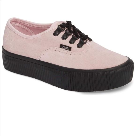 00f38dd6479 Vans pink suede platforms